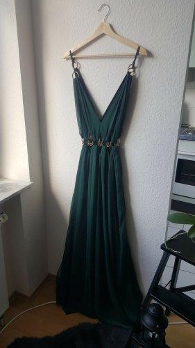 Waldgrünes Maxikleid / Abendkleid mit goldenen Ornamenten