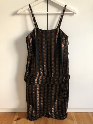 WALLIS Kleid Abendkleid Schwarz-Rostbraun gestreift