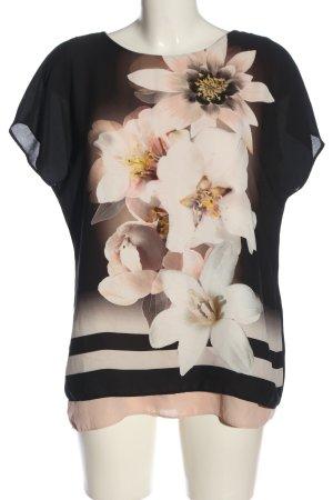 Wallis Kurzarm-Bluse schwarz-nude Blumenmuster Casual-Look
