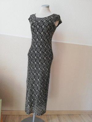Wallis petite Kleid lang Gr. UK 8 EUR 34 XS schwarz weiß Strickkleid Spitze Midikleid Schlauchkleid