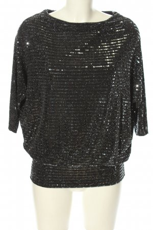 Wallis Oversized Shirt hellgrau-silberfarben Streifenmuster Glanz-Optik