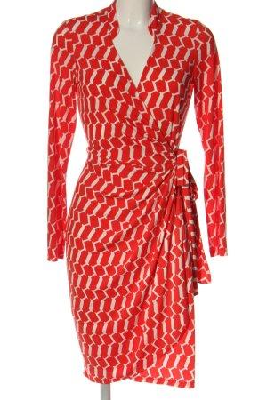 Wallis Kopertowa sukienka czerwony-w kolorze białej wełny Abstrakcyjny wzór