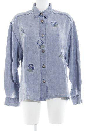 Wallmann Jeansbluse Blumenmuster Jeans-Optik
