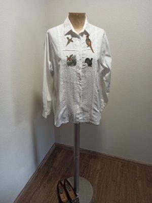 Wallmann Vintage Bluse bestickt Vögel Trachtenstil Folklore Baumwolle Gr. 40