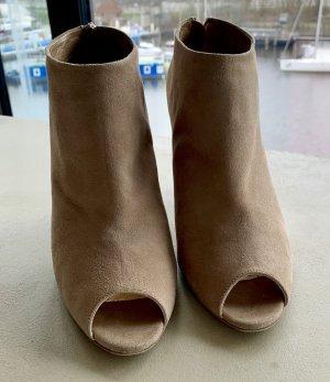 Walter Steiger Peep Toe Booties beige-oatmeal