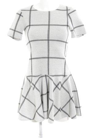 Warehouse A-Linien Kleid hellgrau-schwarz Karomuster Casual-Look