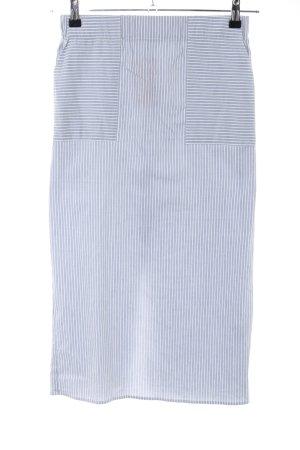 Warehouse Bleistiftrock blau-weiß Streifenmuster Casual-Look