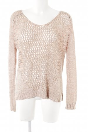 Warehouse Pull en crochet rouge clair-blanc cassé style décontracté