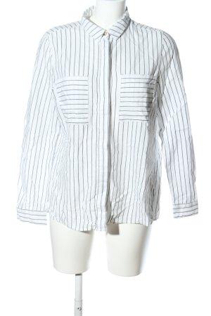 Warehouse Hemd-Bluse weiß-schwarz Streifenmuster Casual-Look