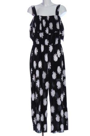 Warehouse Jumpsuit schwarz-weiß Allover-Druck Casual-Look