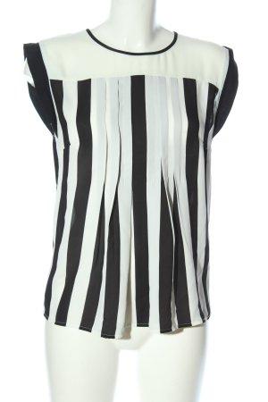 Warehouse Kurzarm-Bluse weiß-schwarz Streifenmuster Business-Look