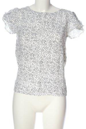 Warehouse Kurzarm-Bluse weiß-schwarz Allover-Druck Casual-Look