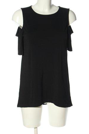 Warehouse Kurzarm-Bluse schwarz Casual-Look