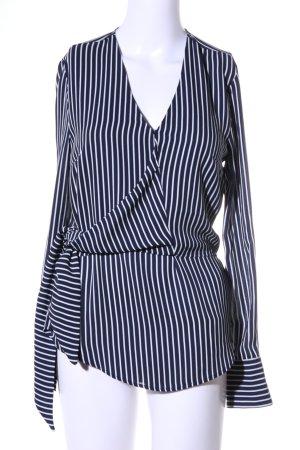 Warehouse Langarm-Bluse schwarz-weiß Streifenmuster Casual-Look