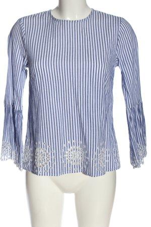 Warehouse Langarm-Bluse blau-weiß Streifenmuster Casual-Look