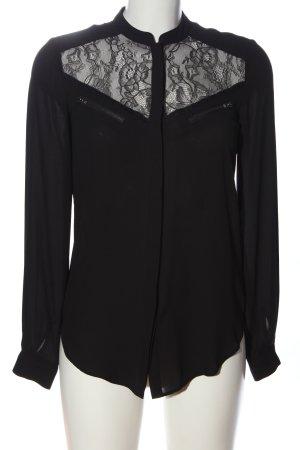 Warehouse Langarm-Bluse schwarz Casual-Look