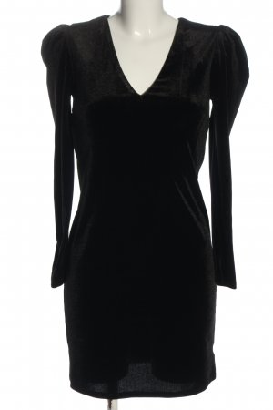 Warehouse Vestido de manga larga negro moteado look casual