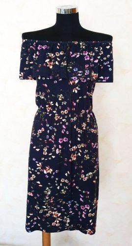 Warehouse Midi Carmen Kleid Sommerkleid Schulterfrei Bardotkleid Blumenmuster 34