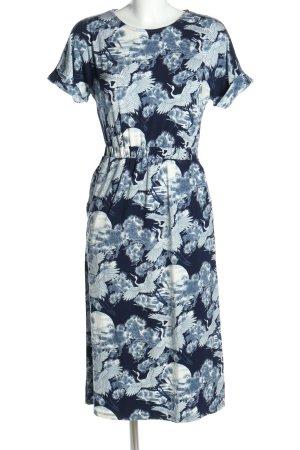 Warehouse Robe mi-longue bleu-blanc imprimé allover style décontracté