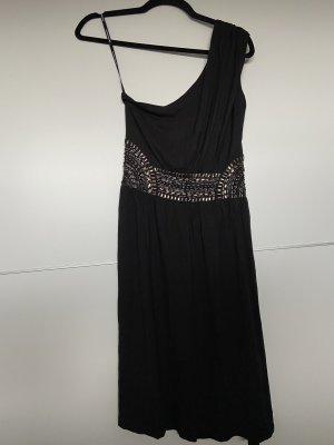Warehouse Sukienka na jedno ramię czarny Wiskoza