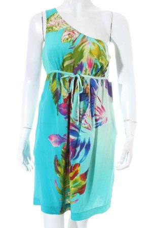 Warehouse One-Shoulder-Kleid florales Muster Elegant