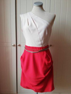 Warehouse Partykleid rot nude Oneshoulder Minikleid Partykleid Gr. UK 10 EUR 38 D 36 S