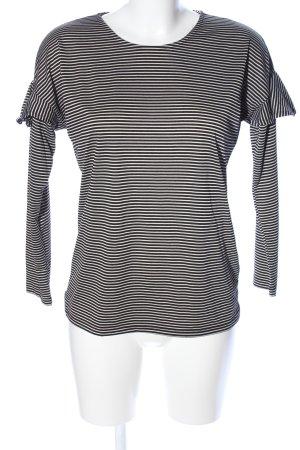 Warehouse Ringelshirt schwarz-weiß Allover-Druck Casual-Look