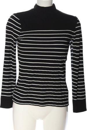 Warehouse Rollkragenpullover schwarz-weiß Allover-Druck Casual-Look
