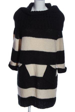 Warehouse Jersey de cuello alto negro-blanco puro estampado a rayas look casual