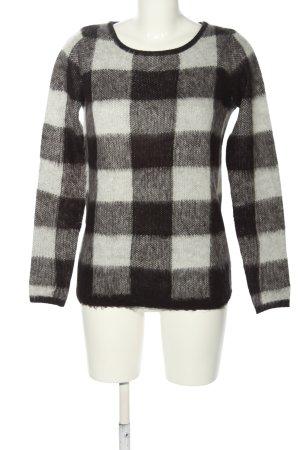 Warehouse Rundhalspullover schwarz-weiß Karomuster Casual-Look