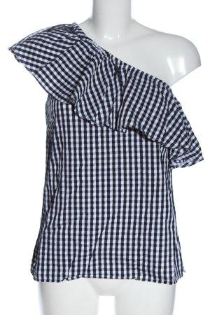 Warehouse Blouse à enfiler noir-blanc motif à carreaux style décontracté