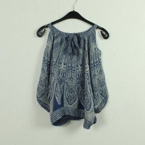 Warehouse Blouse en soie blanc-bleu soie