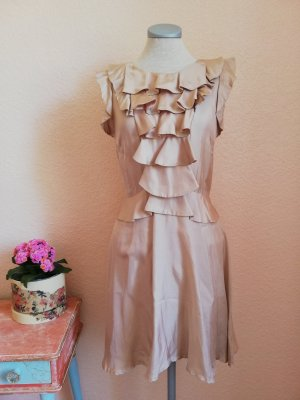 Warehouse Seidenkleid Kleid gerüscht Sommer Sommerkleid Gr. UK 10 EUR 38 D 36 S nude beige vintage