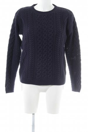Warehouse Strickpullover dunkelblau Zopfmuster Casual-Look