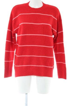 Warehouse Strickpullover rot-weiß Streifenmuster Casual-Look