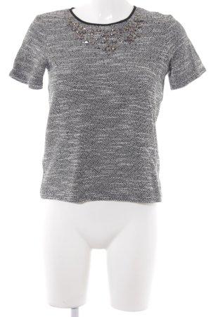 Warehouse Strickshirt hellgrau-schwarz meliert Casual-Look