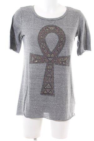 Warehouse T-Shirt hellgrau-braun meliert Casual-Look