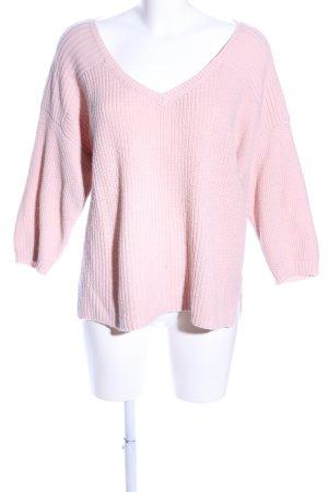Warehouse V-Ausschnitt-Pullover hellrosa Casual-Look