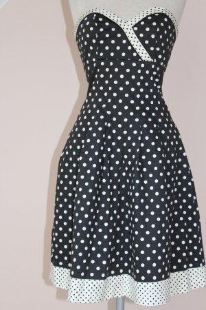 Warehouse vintage Rockabilly Kleid Corsagekleid schwarz weiß Punkte polkadots trägerlos UK 8 Gr. 34