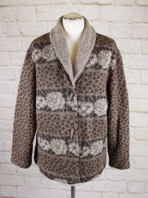 Warm Dicker Strickcardigan Strickjacke Hofius Größe L 42/44 Braun Beige Grau Muster Wolle Schalkragen Knebelknopf Jaquard Jacke
