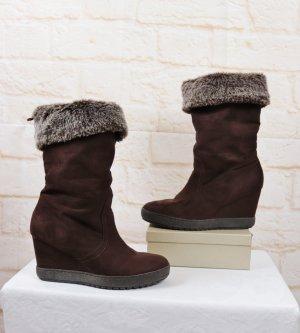 Warm Keil Stiefel Boots Graceland Größe 41 Braun Dunkelbraun Plüsch Velours Schuhe Retro Winterstiefel