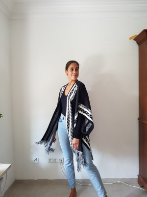 Vero Moda Ponczo z dzianiny biały-czarny