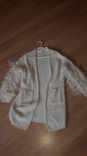 Cardigan a maglia grossa bianco sporco