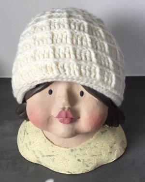 Faustmann Bonnet en crochet blanc cassé laine