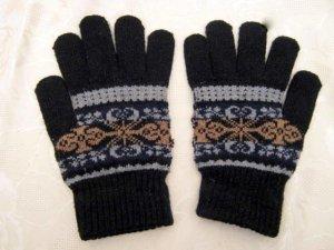 Warme Finger Handschuhe Diverse Norweger Muster Blau Grau Schwarz Elastisch