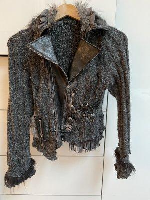 warme graue Jacke / Wolljacke / Strick