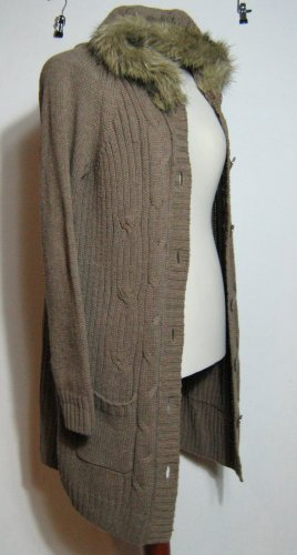 Warme Jacke Strickmantel Fell-Kapuze Größe XL Lange Outdoor-Weste