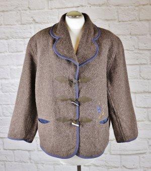 Warme Landhaus Jacke tofana Größe 40 Wolle Trachten Ente Braun Blau Knebelverschluss Stickerei Wolle Janker Oversize Walk