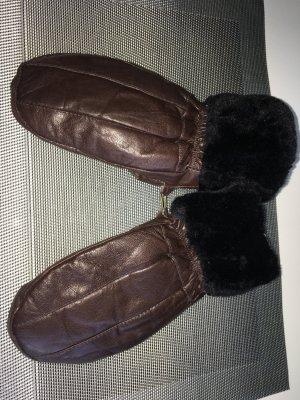 Warme Leder Handschuhe Fäustlinge One Size