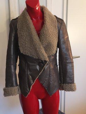 Alba Moda Leather Jacket silver-colored-bronze-colored